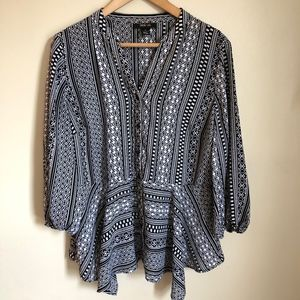 Style &  Co Black White Patterned Button Down Top